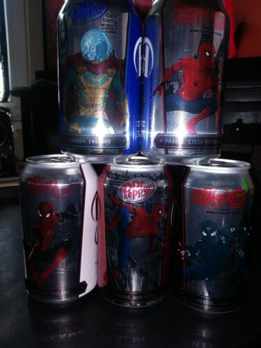 cans lot of 5 different full 2019 12 oz DR PEPPER SPIDER-MAN Far From Home
