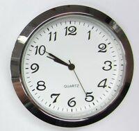 2-1/8 (55mm) Premium Quartz Clock Insert, Silver Bezel, Metal Case, Arabic