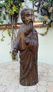 Saint-Personnage-ou-prophete-tres-ancien-en-bois-sculpte