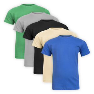 Girls-Boys-Cotton-Plain-Classic-T-shirt-Short-Sleeve-Kids-Children-Casual-Top