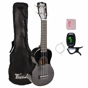 Traditional Economy Soprano Ukulele Starter Pack Black with Strings,E-Tuner,Bag