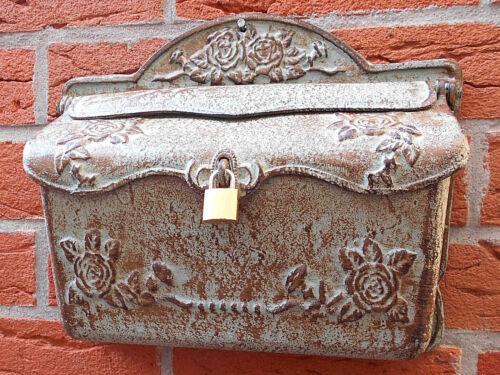 Briefkasten aus Gusseisen historisches Rosendekor inkl Vorhängeschloss antikgrün