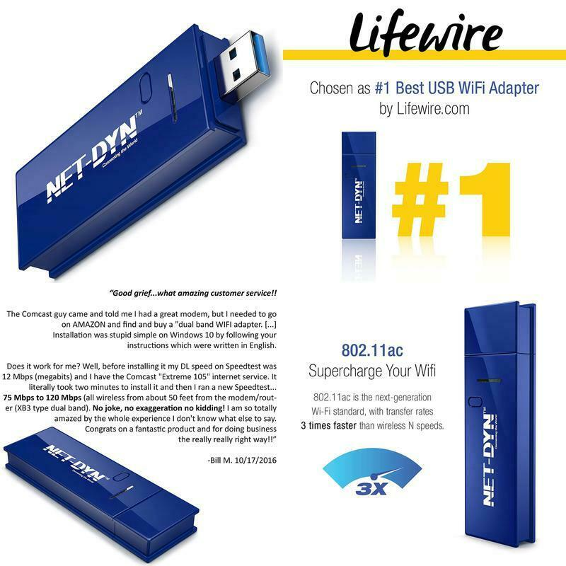 Net-Dyn Usb Wireless Wifi Adapter,Ac1200 Dual Band , 5G
