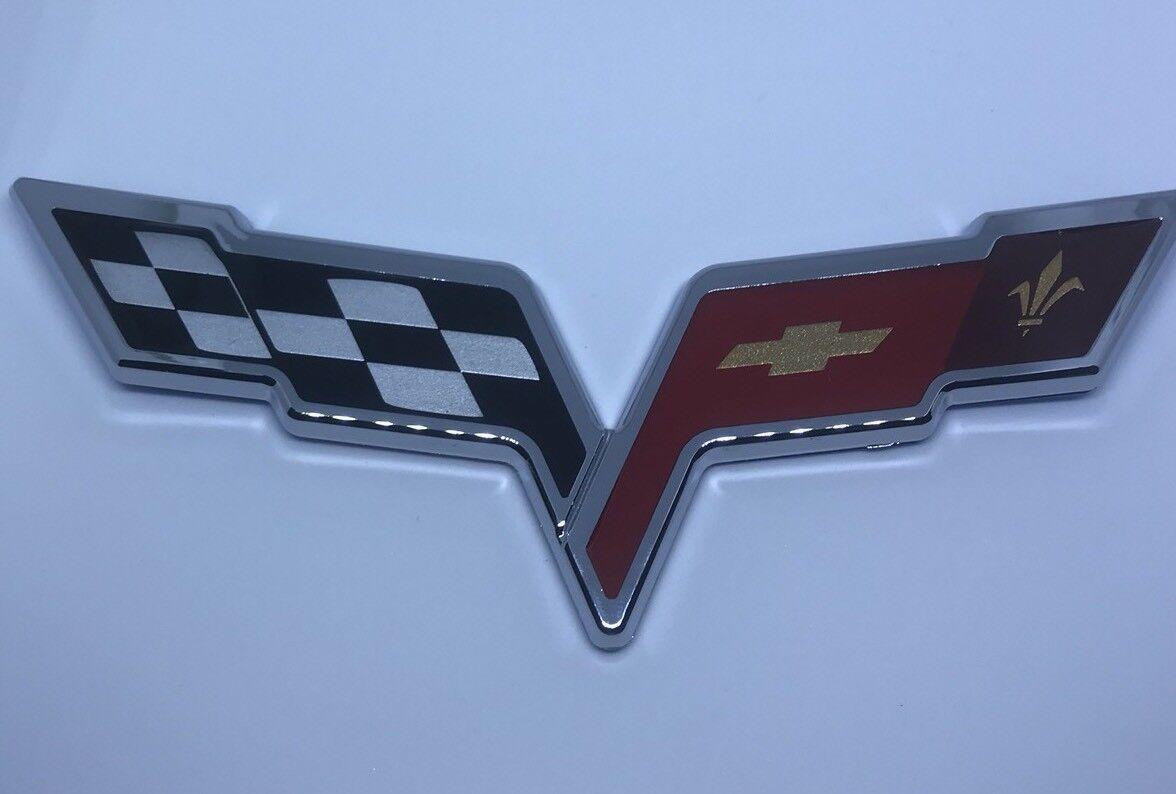 2X Chrome Emblem Decal Replacement For Chevrolet Corvette C6 Z06 505 HP 25919017