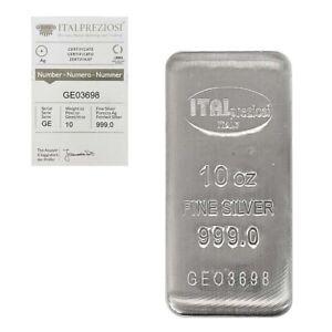 10 oz Italpreziosi Italian Silver Cast Bar .999 Fine (w/Assay)