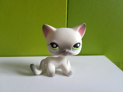Littlest Pet Shop LPS125 Grey White Siamese Shorthair Cat green eyes