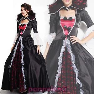 Vestito-carnevale-donna-costume-strega-vampiro-deluxe-Halloween-nuovo-DL-1339