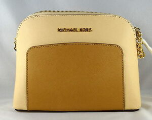 ce74f8357 Michael Michael Kors Cindy Pocket Large Dome Nude Peanut Leather ...