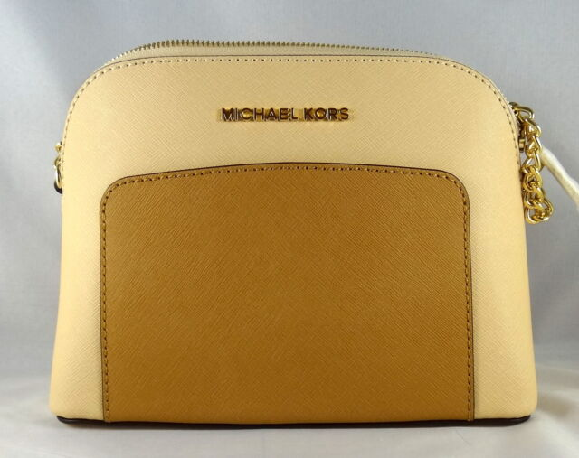 92a4b1ca04cf Michael Michael Kors Cindy Pocket Large Dome Nude Peanut Leather Crossbody