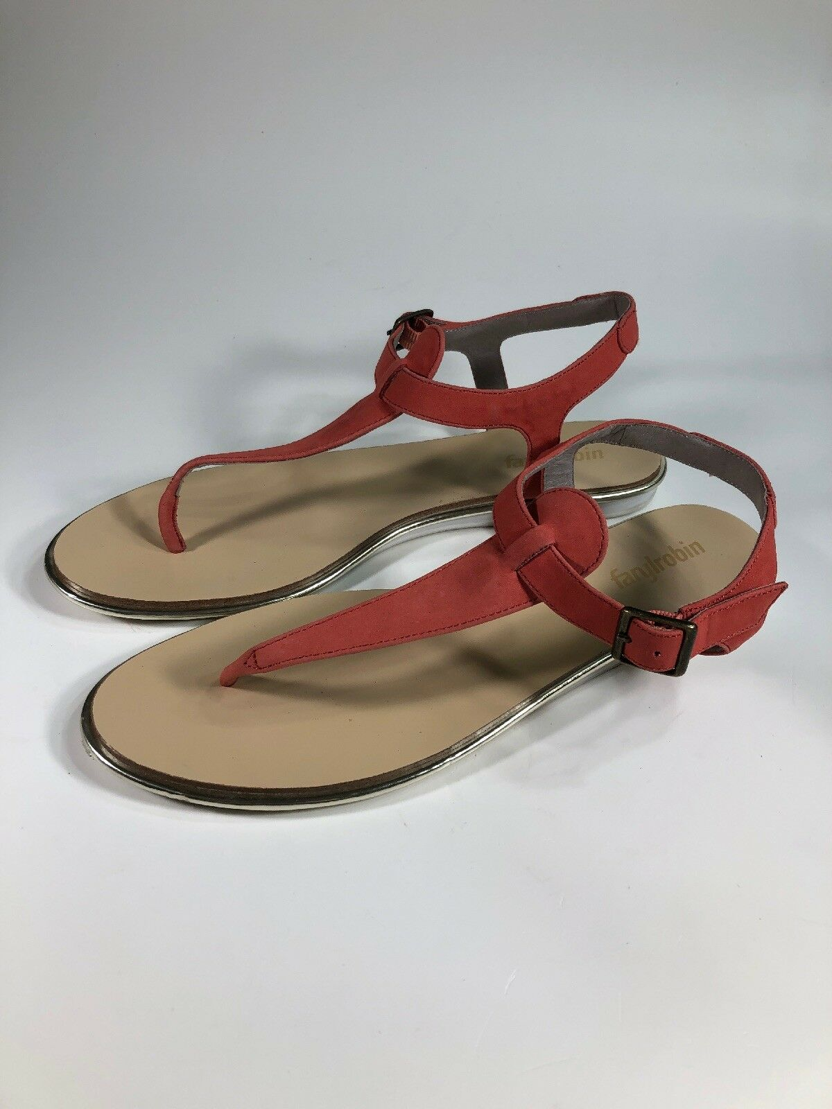 Farylrobin Anthropologie Red Nubuck Leather Ankle Strap Sandals Womens Size 10 M