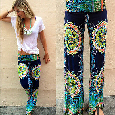 Hot Summer Vintage Womens Ladies Palazoo Pants Trousers Boho Floral High Waisted