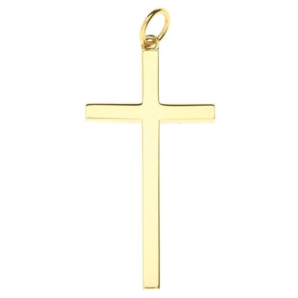 GRANDE GRANDE GRANDE 9ct oro Giallo Scroll con motivo Cross - 3.3g 3070ca