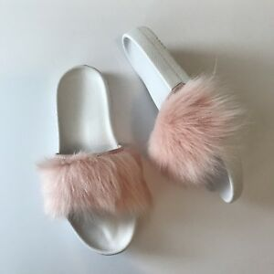 ugg australia womens royale slides fur slippers size 7 baby pink new