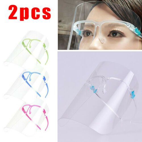 2x Safety Full Face Clear Covering Glasses Eye Shield Protector Anti-Fog Proof