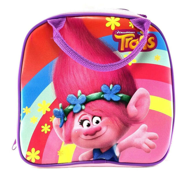 New Trolls Poppy Pink Lunch Box Carry Bag /& Bottle Water School Supplies