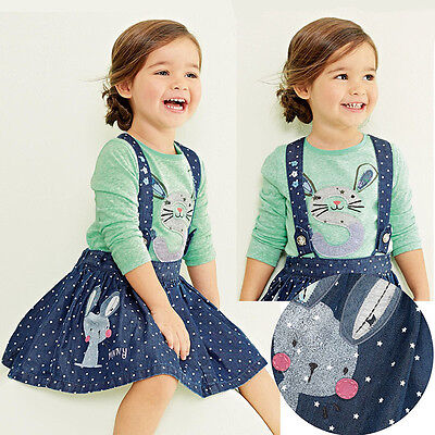 2PC Baby Girls Kids Cute Rabbit Tops+Dot Denim Overalls Dresses Skirts Outfits