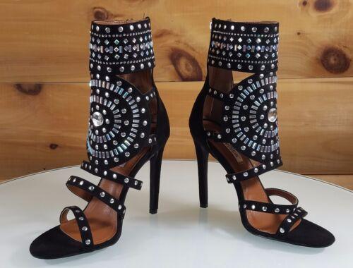 "CR Blair Black Rhinestone /& Stud Design 4.5/""  High Heel Shoes Boots 6-11"