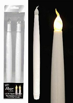 "LED Light Candles Bulb Flameless Flickering Wedding Party Table Taper 11"" 2 Pack"