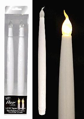 "11"" LED FLAMELESS FLICKERING WEDDING PARTY TABLE TAPER CANDLES BULB 2 PACK"