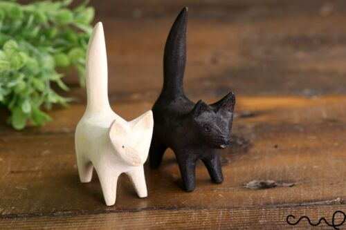 Handmade Black and Natural Wooden Cat Kitten Craft Art Home Decor Gift Carved