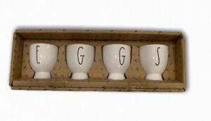 Rae-Dunn-Magenta-EGGS-Egg-Holder-Cups-Set-Large-Letter-Farm-House-NEW