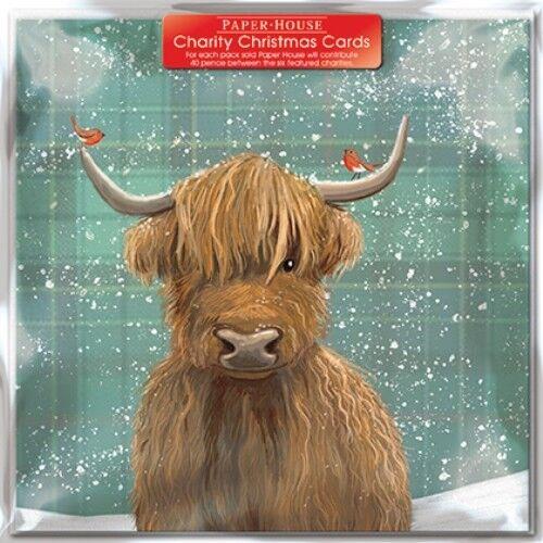 Lot de 6 Highland Vache charité cartes de Noël prend en charge plusieurs organismes de bienfaisance