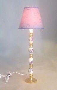 Dollhouse Miniature Purple Floral Ceramic Floor Lamp Lighted Electric 12V 1:12