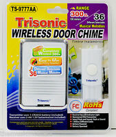 Wireless Door Bell Chime Ringer Battery Powered 36 Melodies & Led Flashing Light