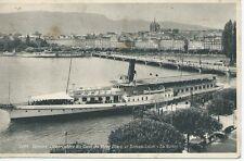 POSTAL- GINEBRA - Desembarcadero del Muelle del Mont-Blanc y barco crucero