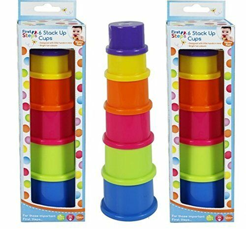 First Steps 6 Coloured Stack Up Cups Ideal For 6 Months