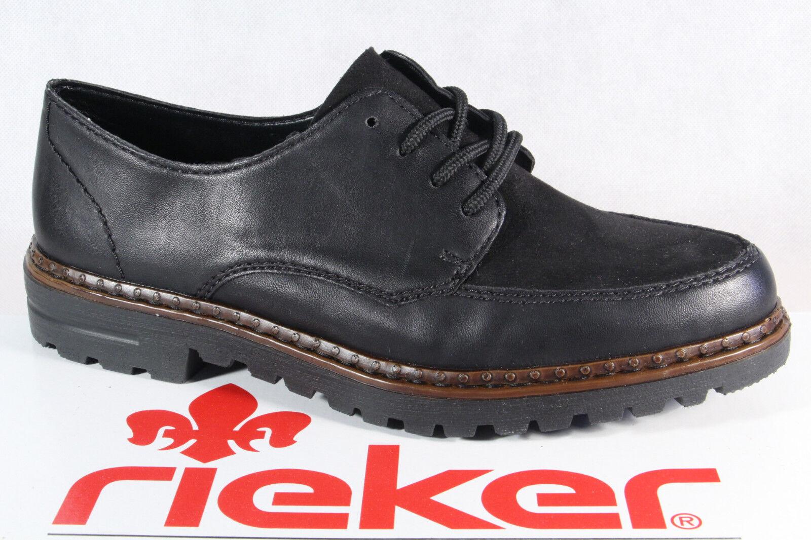 Rieker Femmes Chaussures à Lacets Basses Baskets à Noir 54806 Neuf