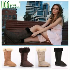 UGG-Boots-Fold-LaceUp-Tall-100-AustralianTwinface-Sheepskins-Grip-sole-Size-4-10