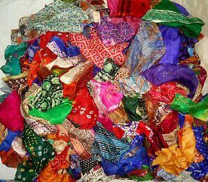 1000 GMS LOT ART SILK Antique Vintage Sari Fabric 1 KG CRAFT 9 DAY DELIVERY NR