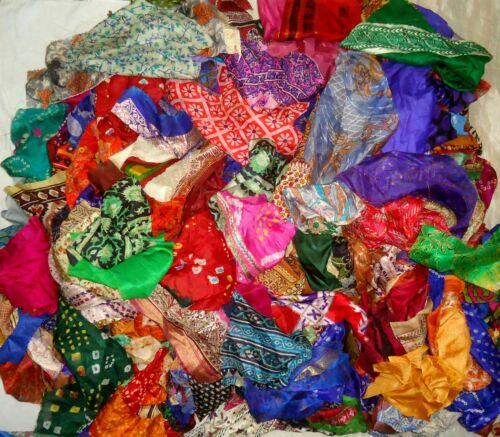 LOT ART SILK Antique Vintage Sari Fabric 1 KG CRAFT 7DAYDELIVERY JOURNAL TASSELS