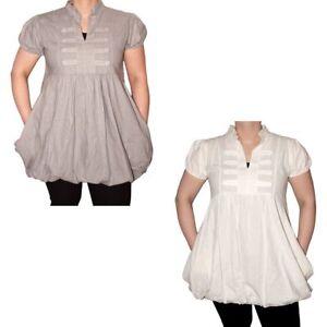 Damen-Ballon-Kleid-Knoepfe-kurzarm-Shirt-Leinen-Longshirt-Made-in-Italy-XL-3XL