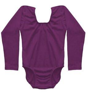 Girls-Qualitat-Purple-Short-Long-Sleeve-Sleeveless-Cotton-Lycra-Leotards-3-11yrs