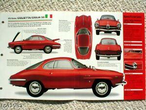 1961/1962/1963/1964 /1965 Alfa Romeo Giulietta / Giulia Ss Imp Brochure Un BoîTier En Plastique Est Compartimenté Pour Un Stockage En Toute SéCurité