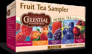 Celestial Seasonings Fruit Tea Sampler 18 Herbal Tea Bags Cherry Berry Blueberry