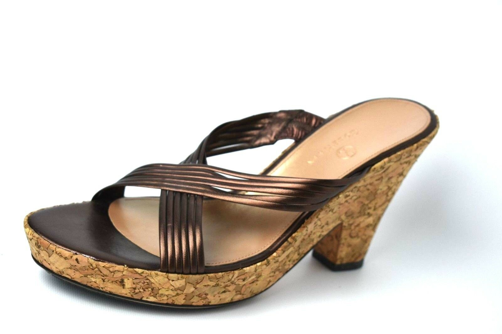 NIB Cole HaanCARLEIGH SLIDE DK CHOC  Metallic Sandal SZ 9.5 B