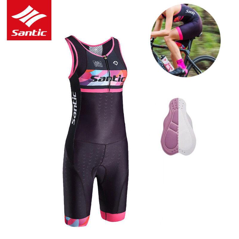 Santic Bike Cycling Jersey Triathlon femmes One-piece Sleeve Anti-UV Breathable