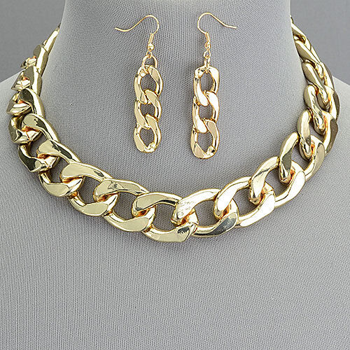 Gold Cuban Link Thick Urban Chain Choker Style Necklace With Earrings
