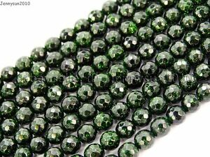 Green-Sand-Stone-Gemstone-Faceted-Round-Ball-Loose-Beads-15-039-039-6mm-8mm-10mm-12mm