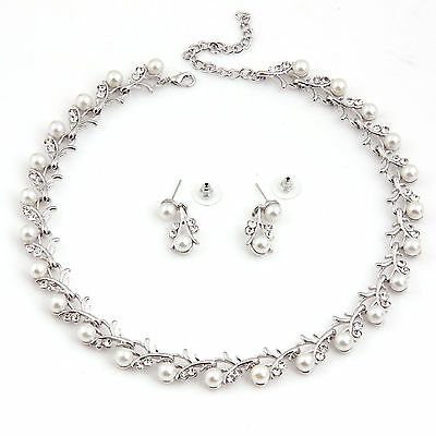 new Fashion Jewelry Sets Wedding/Bridal Pearl &Crystal Necklace Earring Set