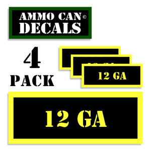 """12 GAUGE 12 GA STICKERS LABELS DECALS for Ammunition Cases 4 pack YW 3""""x1.15"""""""