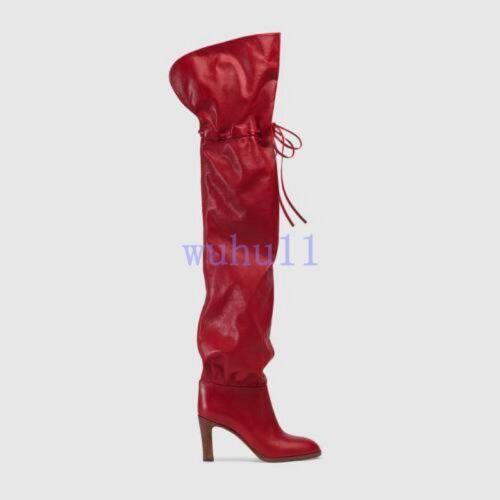 Femme Chic Stiletto Solide Chaussures Bout Rond À Enfiler Over Bottes Hautes Parti Wu