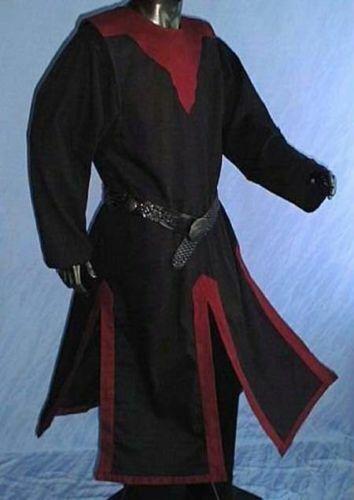 MEDIEVAL BLACK KNIGHT Tunic Surcoat Crusader Sleeveless Renaissance LARP