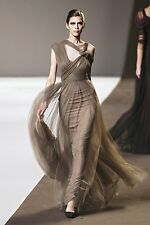 ELIE SAAB Deep Wine Tulle Lace Silk Dress Gown 10