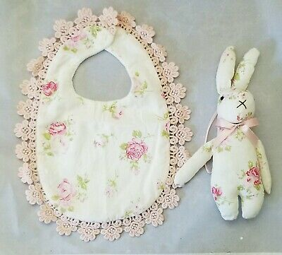 Flower Rose Baby Bib Bunny Toy Lace White Pink Girl Shower Gift Set 2 Handmade