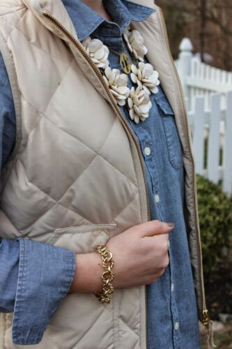 NWT J.Crew Factory Quilted Puffer Novelty Vest  Beige Bisque 2XS XS S M L XL XXL