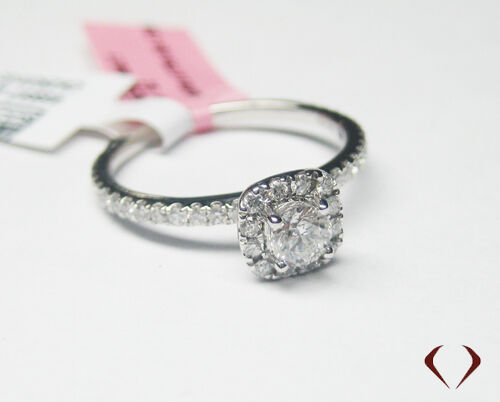 0.65CT DIAMOND HALO ENGAGEMENT RING WITH CENTER DIAMOND 14KT